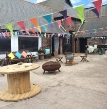 Wurzell Whistle Party setup outside